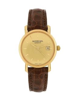Часы с Датой из Золота 18 карат на Коричневом Ремешке из Крокодиловой Кожи Raymond Weil 3091213