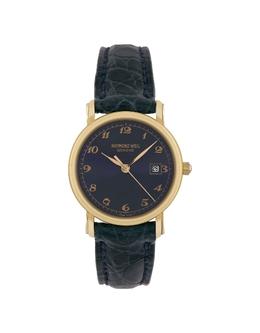 Часы из Золота 18 карат с Синим Циферблатом на Ремешке из Крокодиловой Кожи Raymond Weil 3091261