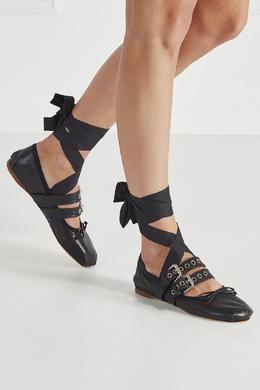 Кожаные балетки Miu Miu 37550500