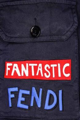 Синие шорты с вышивкой Fendi Kids 69083534