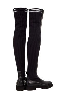 Черные кожаные сапоги Fendi 163280379