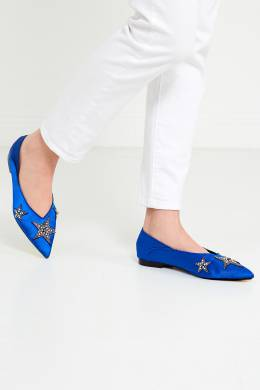 Синие балетки с кристаллами Palmito Lola Cruz 169879084