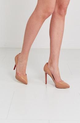 Бежевые лакированные туфли Pigalle Plato 120 Christian Louboutin 10681600