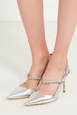 Серебристые туфли с кристаллами Miu Miu 37586178