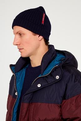 Синяя шерстяная шапка-бини Prada 4071414