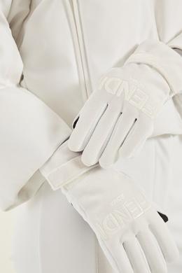 Белые перчатки с логотипом Fendi 163293562