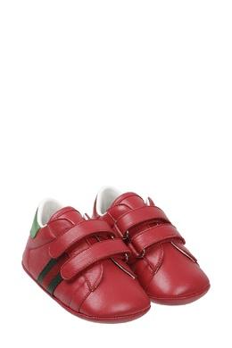 Красные кроссовки на липучках Gucci Kids 125694419