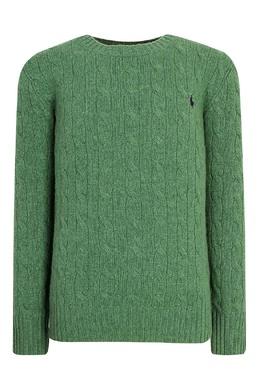 Зеленый джемпер с фактурным узором Ralph Lauren Kids 125295217
