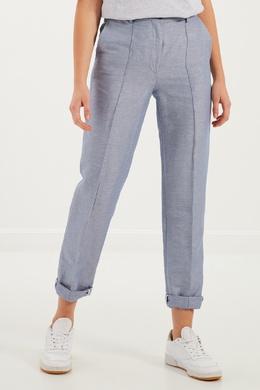 Комбинированные голубые брюки Forte_Forte 223196524