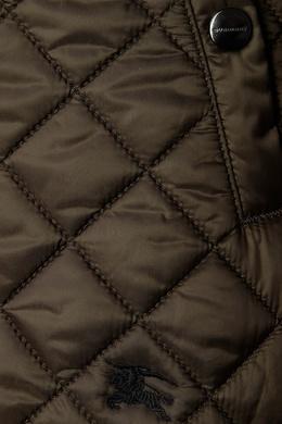 Коричневая стеганая куртка Burberry Kids 125395257