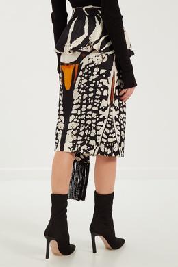 Шелковая юбка с принтом Alexander McQueen 38497406