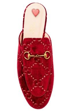 Бордовые слиперы с пряжками Princetown Gucci 47098931