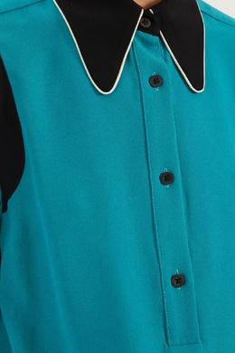 Бирюзовая блузка с отделкой Dries Van Noten 152599485