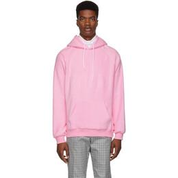 MSGM Pink Logo Backward Hoodie 182443M20200302GB