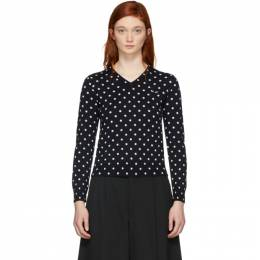 Comme Des Garcons Play Navy Polka Dot V-Neck Sweater 32246F12400102GB
