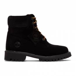 Off-White Black Timberland Edition Velvet Boots 191607F11400107GB