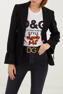 Черный ремень с монограммой Dolce&Gabbana 599101232