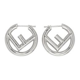 Fendi Silver Small F is Fendi Hoop Earrings 8AG745 B08