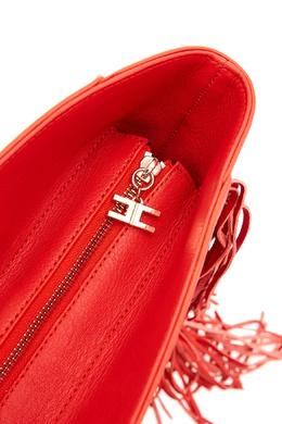 Красная сумка с бахромой и логотипом Elisabetta Franchi 1732100285
