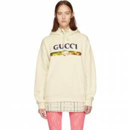 Gucci Off-White Sequin Logo Hoodie 191451F09701203GB