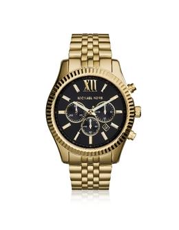 Золотистые Мужские Часы Хронограф Lexington Michael Kors MK8286