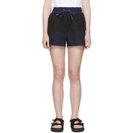 Sacai Black and Navy Panelled Shorts 19-04252