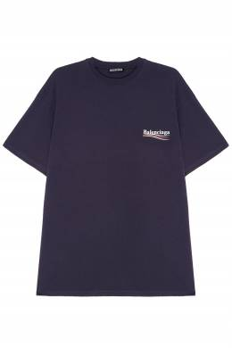 Темно-синяя футболка с логотипом Balenciaga Man 2673105997