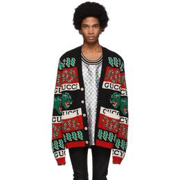 Gucci Black and Multicolor Jacquard Symbols Cardigan 545747 XKADY