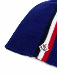 Moncler Kids - striped panel logo beanie 036565S6893985669000