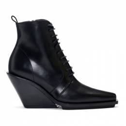 Ann Demeulemeester Black Lace-Up Wedge Boots 191378F11300501GB