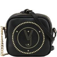Versace Jeans Black Faux Leather Crossbody Bag 162387