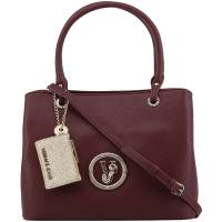 Versace Jeans Maroon Faux Pebbled Leather Tote 162395