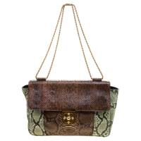 Chloe Brown/Green Python Large Elsie Shoulder Bag 115358