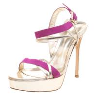 Gianvito Rossi Two Tone Metallic Leather and Suede Ankle Strap Platform Sandals Size 39 100963