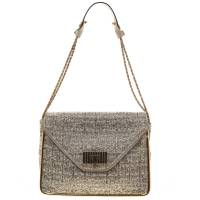 Chloe Metallic Tweed Medium Sally Flap Shoulder Bag 95483