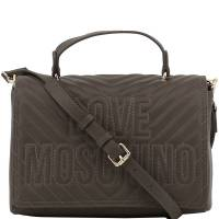 Love Moschino Grey Quilted Faux Leather Logo Top Handle Bag 169605