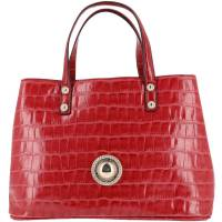 Versace Jeans Red Croc Embosed Faux Leather Tote 161943