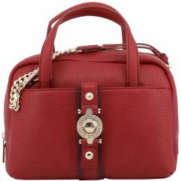 Versace Jeans Red Faux Pebbled Leather Satchel Bag 153669
