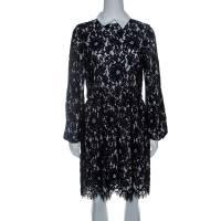 Alice + Olivia Black Floral Lace Long Sleeve Terisa Dress S 142994