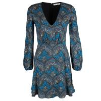 Alice + Olivia Blue Gothic Print V-Neck Flared Dress XS 115812