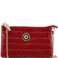 Versace Jeans Red Faux Croc Embossed Leather Chain Pochette Accessories 226831