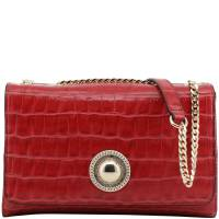Versace Jeans Red Croc Embosed Faux Leather Chain Shoulder Bag 161940