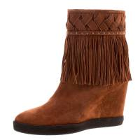 Le Silla Brown Suede Concealed Fringed Wedge Boots Size 40 123586