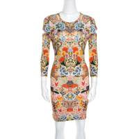 Alexander McQueen Floral Printed Jersey Cutout Sleeve Detail Bodycon Dress S 159927