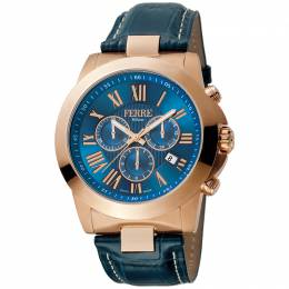 Ferre Milano Blue Rose Gold Plated Stainless Steel FM1G079L0021 Men's Wristwatch 44MM 179661