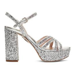 Miu Miu Silver Glitter Sandals 5XP812 ME6