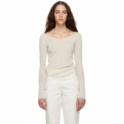 Lemaire Off-White Second Skin V-Neck Sweater W 191 KN288 LK077 - 1