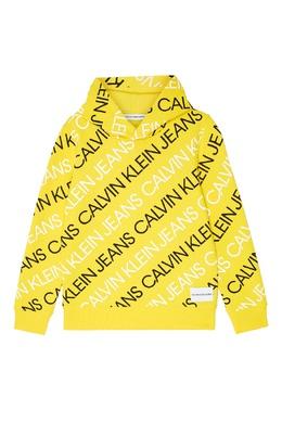 Желтое худи с логотипом Calvin Klein Kids 2815109059