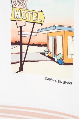 Белое худи с принтом Calvin Klein Kids 2815109057