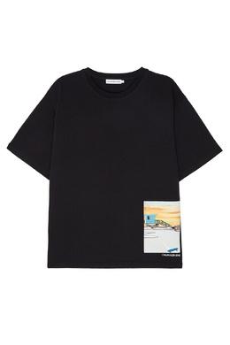 Черная хлопковая футболка с принтом Calvin Klein Kids 2815109061